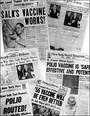 Photo of newspaper headlines about polio vaccine tests (Photo credit: Wikipedia)