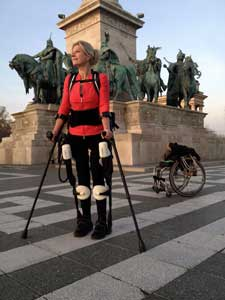 Amanda Boxtel standing in the 3-D printed Ekso hybrid robotic suit in Budapest. Image: 3D Systems Corp.
