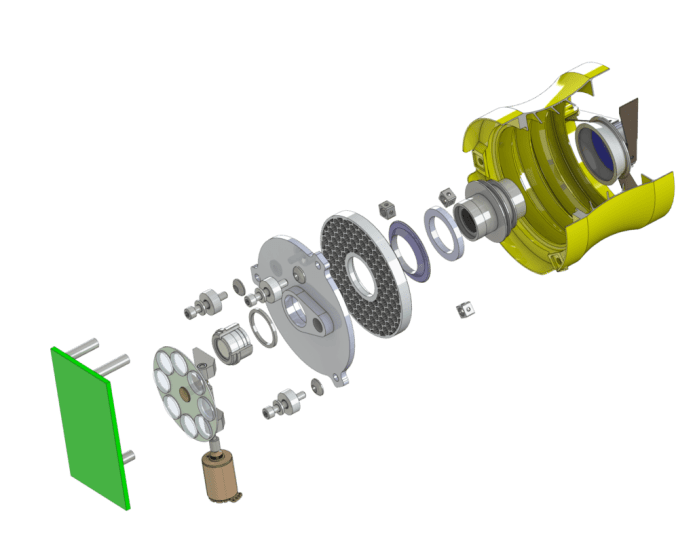 This is an exploded view of the CubeSat-class 50-millimeter (2-inch) imaging instrument that technologist Jason Budinoff is manufacturing with 3-D-printed parts. It shows the mirrors and integrated optical-mechanical structures. Image Credit: NASA Goddard/Jason Budinoff