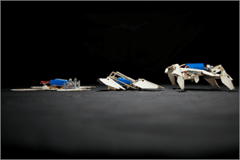 A team from Harvard's Wyss Institute, Harvard's SEAS, and MIT built an autonomous robot that starts out as a single composite sheet programmed to fold itself into a complex shape and crawl away without any human intervention. Credit: Harvard's Wyss Institute