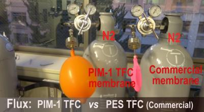 PIM-1 is a highly permeable membrane compared with commercially available ones. The orange balloon on the left illustrates this point as a higher volume of nitrogen gas is able to pass through PIM-1 into the balloon compared with the membrane on the right, connected to the pink balloon. Credit: Kyoto University iCeMS Public Relations