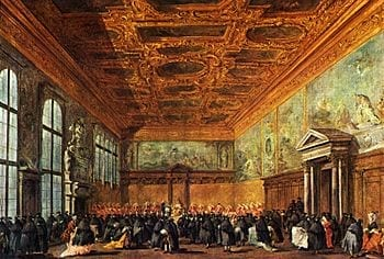 The hearing given by the Doge in the Sala del Collegio in Doge's Palace by Francesco Guardi, 1775-80. (Photo credit: Wikipedia)