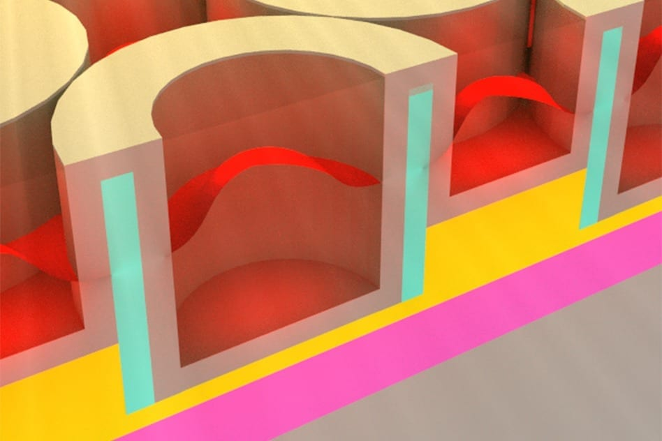 This rendering shows the metallic dielectric photonic crystal that stores solar energy as heat.