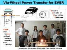 Via-wheel power transfer to running electric vehicles.
