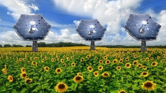Equipped with an array of multi-junction photovoltaic chips, each of the IBM'sunflowers' can supply the energy needs of several homes (Image: Airlight Energy/dsolar) Click on this picture for VIDEO