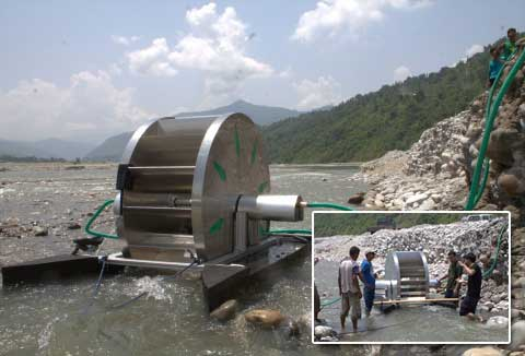 A prototype of aQysta's pump in action in Nepal