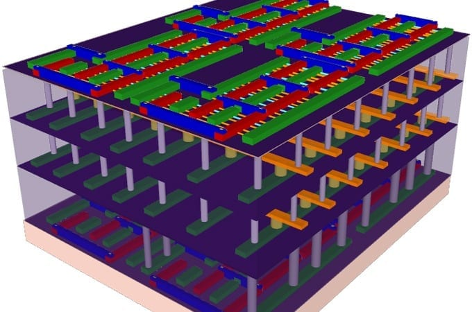 "This illustration represents the four-layer prototype high-rise chip built by Stanford engineers. The bottom and top layers are logic transistors. Sandwiched between them are two layers of memory. The vertical tubes are nanoscale electronic ""elevators"" that connect logic and memory, allowing them to work together to solve problems. (Illustration: Max Shulaker)"