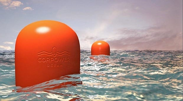 Wave energy converters designed with gear technology from KTH produce more energy for less cost that competing systems. (Photo: CorPower)