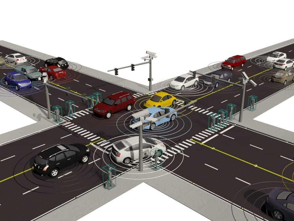 Visualization of an ORNL connected vehicles simulations using decentralized control algorithms developed by researchers with the lab's Urban Dynamics Institute. Image provided by Andreas Malikopoulos.