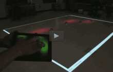 Controlling swarms of robots with a finger