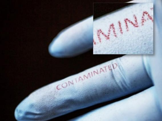 "When printed on surgical gloves in functional silk inks doped with bacteria-sensing agents, the word ""contaminated"" changed from blue to red after exposure to E. coli."