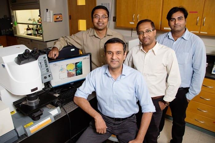 (from left) Prabuddha Mukherjee, postdoc; Rohit Bhargava, professor of bioengineering; Dipanjan Pan, professor of bioengineering; and Santosh Misra, postdoc