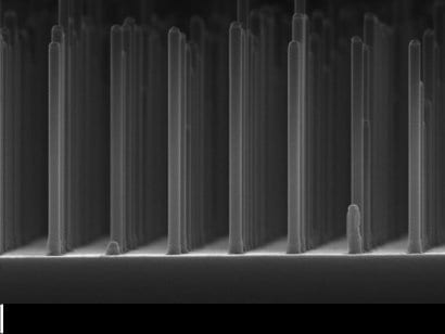 Array of nanowires gallium phosphide made with an electron microscope. Photo: Eindhoven University of Technology.
