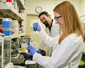 Beth Papanek, working with nutrients for bacterial growth, and Adam Guss are among the ORNL authors of a paper published in Metabolic Engineering.