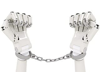 Robots in chains — but are they really to blame when AI does something wrong?