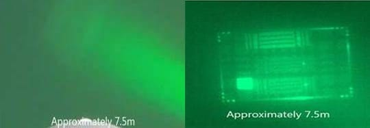 Left: an image of a chessboard pattern taken by a standard camera at a distance of 7.5 metres. Right: an image of the same object taken by the new camera prototype. Photo: SINTEF.