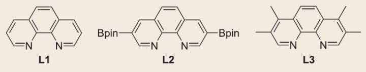 This is a photograph of the phenanthroline ligands used in the borylation of methane. CREDIT IBS