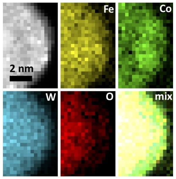 Images of the tiny catalyst particles, made with electron energy loss spectroscopy, show how evenly metal atoms are distributed within the oxide material (Fe=iron, Co=cobalt, W=tungsten and O=oxygen). This extremely uniform distribution helps make the catalyst three times more efficient at splitting water than any previous one. Each frame here is about 4 nanometers wide, which is roughly the width of 40 hydrogen atoms. (B. Zhang et al./Science)