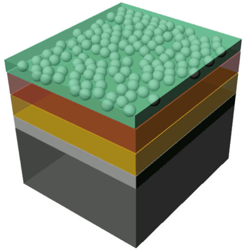 The illustration shows the structure of the sample: n-doped silicon layer (black), a thin silicon oxide layer (gray), an intermediate layer (yellow) and finally the protective layer (brown) to which the catalysing particles are applied. The acidic water is shown in green.