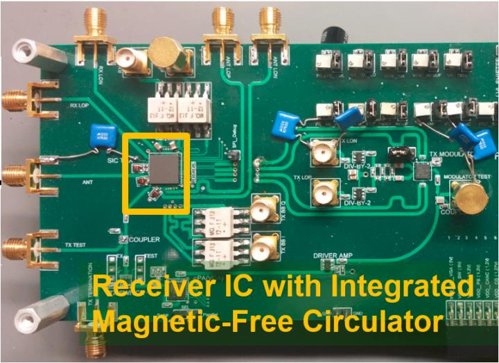 This is the first CMOS full duplex receiver IC with integrated magnetic-free circulator. CREDIT Negar Reiskarimian, Columbia Engineering