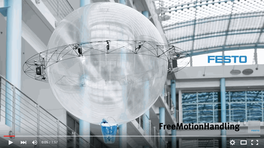 With the ultra-light FreeMotionHandling indoor flying object, Festo has for the first time combined gripping and flying in a single future concept. The autonomous indoor flying object can manoeuvre freely in any direction, independently picking up and dropping off items where they are required.