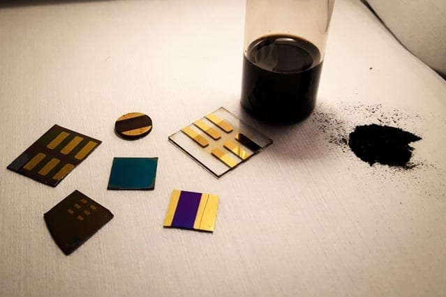 """When you look at coal as a material, and not just as something to burn, the chemistry is extremely rich,"" says Jeffrey Grossman. In this photo, a sample of pulverized coal (right) is shown with several test devices made from coal by the MIT researchers. Photo courtesy of the researchers"