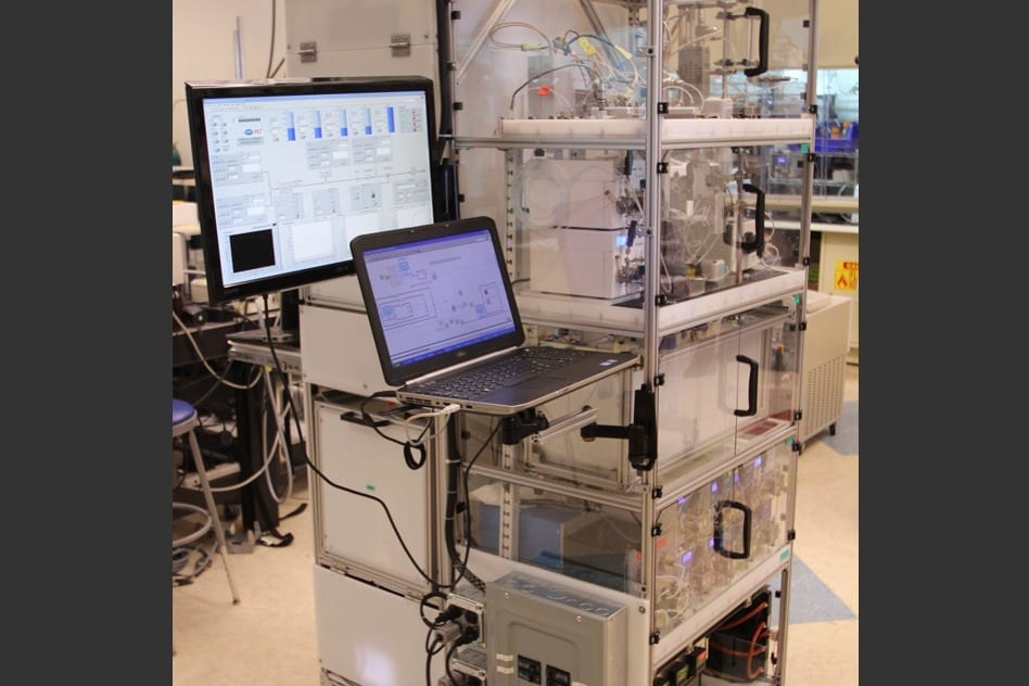 This device built by MIT researchers can be reconfigured to manufacture several different types of pharmaceuticals. Courtesy of the researchers