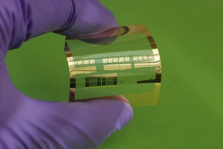 Using a unique method they developed, a team of UW–Madison engineers has fabricated the world's fastest silicon-based flexible transistors, shown here on a plastic substrate. COURTESY OF JUNG-HUN SEO