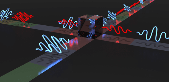 Depiction of indistinguishable photons leaving through the same output port of a beam splitter Credit: Lucian Comandar