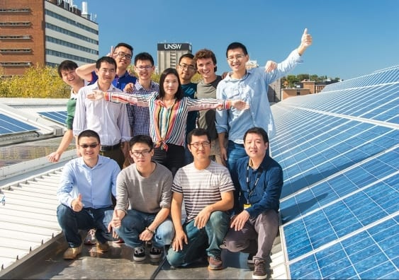 Dr Xiaojing Hao (centre) and her CZTS Solar Cell Group at the UNSW School of Photovoltaic and Renewable Energy Engineering.