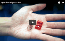 Ingestible origami robot steered by external magnetic fields