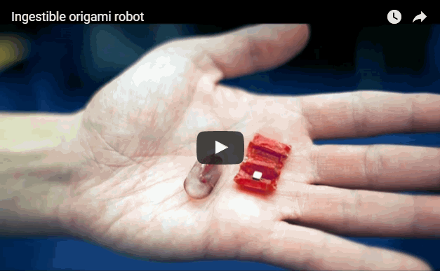 Researchers at MIT and elsewhere developed a tiny origami robot that can unfold itself from a swallowed capsule and, steered by external magnetic fields, crawl across the stomach wall to remove a swallowed button battery or patch a wound. Video: Melanie Gonick/MIT