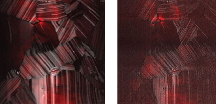 Photoluminescence (red) and second harmonic generation (grayscale) from pure cadmium-telluride solar cells, imaged simultaneously. Standard resolution is on the left, and enhanced resolution, on the right, was captured by a CSU custom-built microscope. Credit: Jeff Field