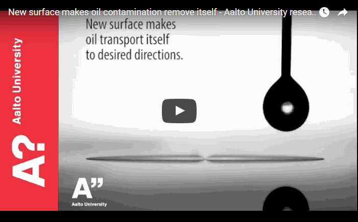 Oil drop moves away from the landing point to the direction set by geometrical patterning of the surface. Video: Ville Jokinen, Visa Noronen, Sebastian Röder.