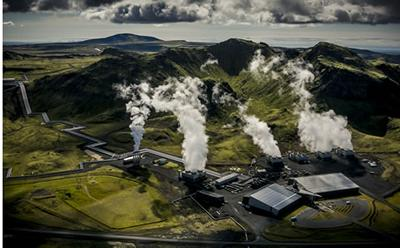 Air photograph of Reykjavik Energy?s Hellisheidi geothermal power plant.