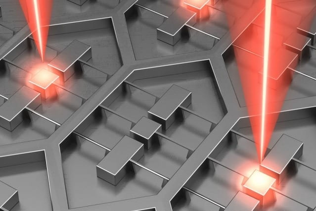 "Researchers at MIT and Sandia National Laboratories have designed a device that is an array of 37 microfabricated lasers on a single chip. Its power requirements are relatively low because the radiation emitted by all of the lasers is ""phase locked,"" meaning that the troughs and crests of its waves are perfectly aligned. Courtesy of the researchers"