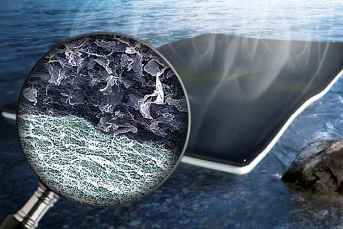 An artist's rendering of nanoparticle biofoam developed by engineers at Washington University in St. Louis. The biofoam makes it possible to clean water quickly and efficiently using nanocellulose and graphene oxide.