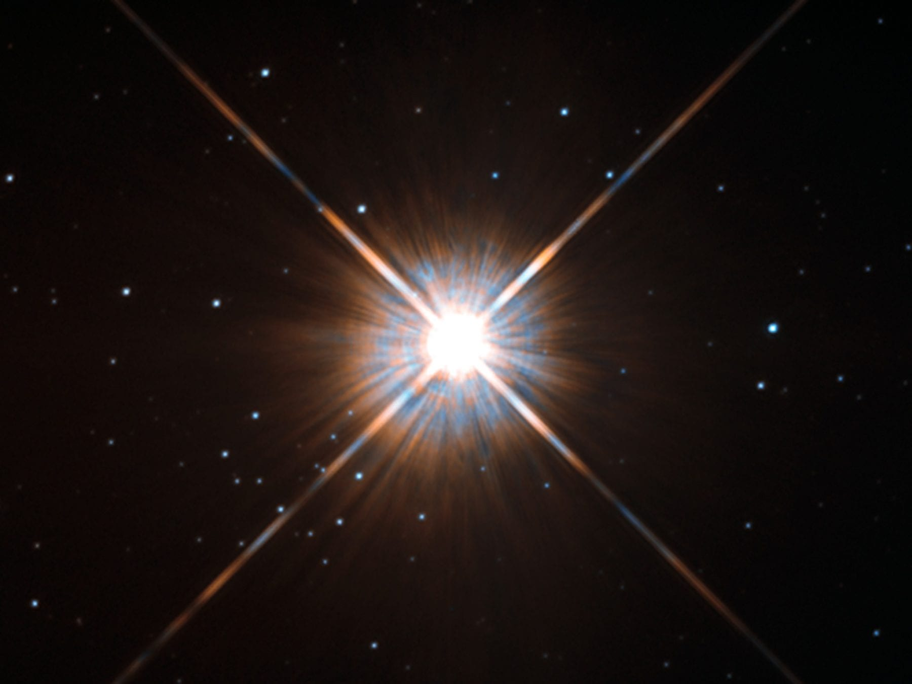 Shining brightly in this Hubble image is our closest stellar neighbour: Proxima Centauri. Proxima Centauri lies in the constellation of Centaurus (The Centaur), just over four light-years from Earth. via en.wikipedia.org