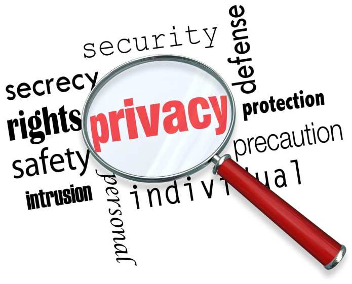 A magnifying glass hovering over the word Privacy and other related terms such as secrety, protection, security and identity via www.shminhe.com