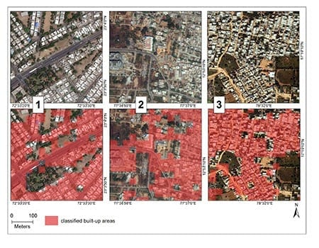 Classification of built-up areas, visualized in red, compared to raw satellite images in three regions in India. Satellite images from DigitalGlobe, Inc., courtesy Big Pixel Initiative.