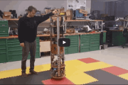 Omnidirectional mobile robot has just two moving parts