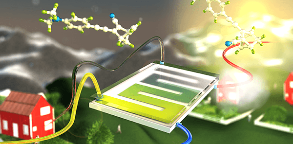 Efficient solar energy storage in a chemical liquid