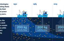 Depleting fish stocks more rapidly with technological advances