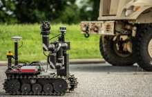 Testing ground robots performing military-style exercises