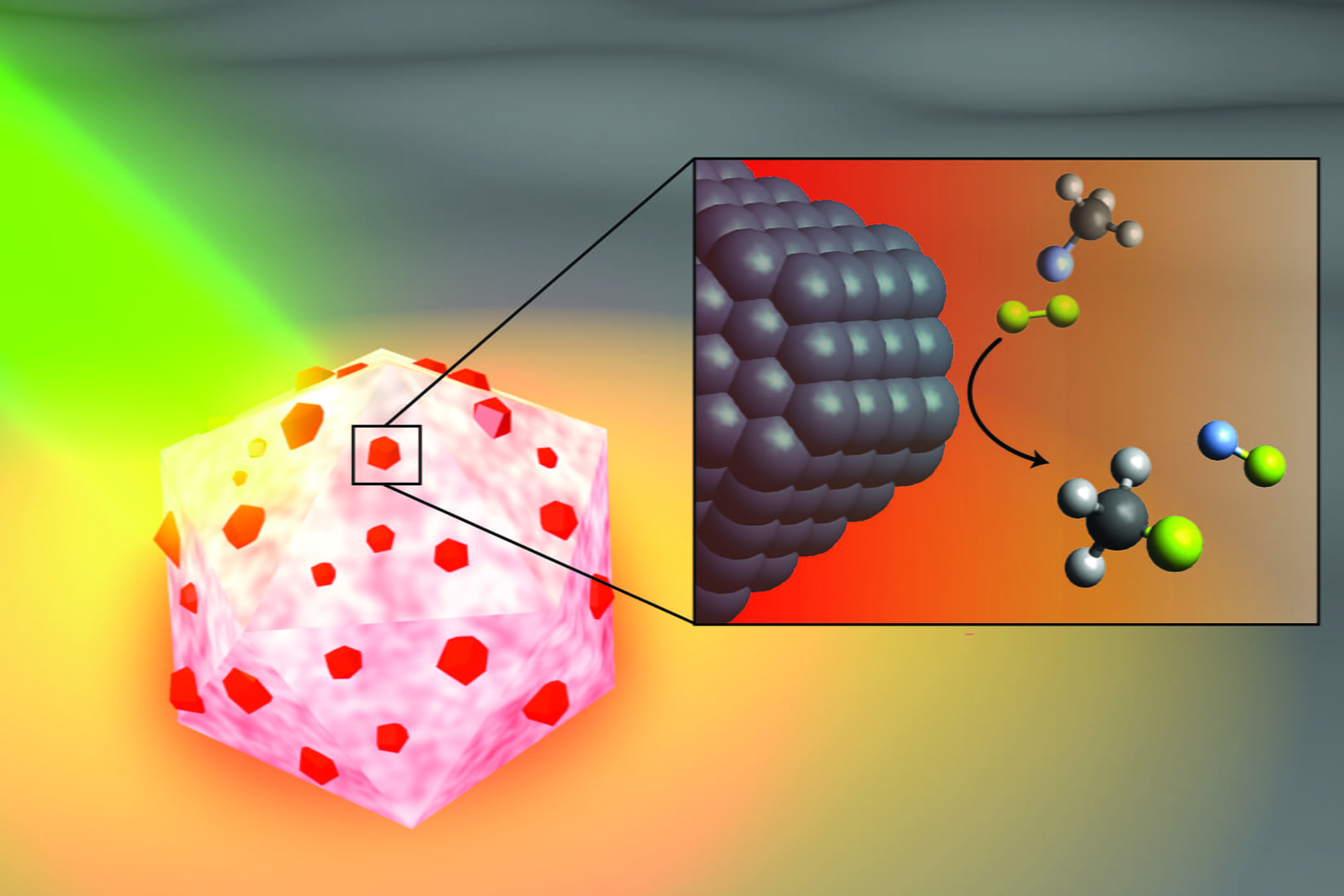 An artist's illustration of the light-activated antenna-reactor catalyst Rice University engineers designed to break carbon-fluorine bonds in fluorocarbons. The aluminum portion of the particle (white and pink) captures energy from light (green), activating islands of palladium catalysts (red). In the inset, fluoromethane molecules (top) comprised of one carbon atom (black), three hydrogen atoms (grey) and one fluorine atom (light blue) react with deuterium (yellow) molecules near the palladium surface (black), cleaving the carbon-fluorine bond to produce deuterium fluoride (right) and monodeuterated methane (bottom). (Image courtesy of H. Robatjazi/Rice University)