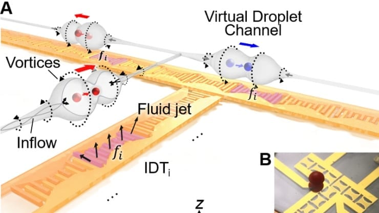 Droplets of different sizes sit on grids of transducers that vibrate to create tunnels in a thin layer of oil, which can transport the droplets in multiple directions.