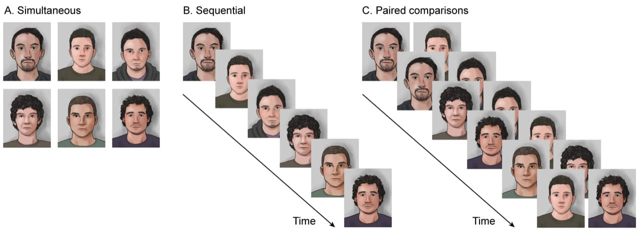 During a traditional lineup, eyewitnesses are either shown six photographs of individuals at the same time (simultaneous lineup) or presented one picture at a time (sequential lineup). The paired comparison (PAR) method asks the eyewitness to choose the picture that is more similar to the culprit when shown two photographs at the same time. A technique called signal detection analysis is then used to reveal the structure of the witness's recognition memory and eliminate unconscious bias. Credit: Gepshtein et al., Nature Communications