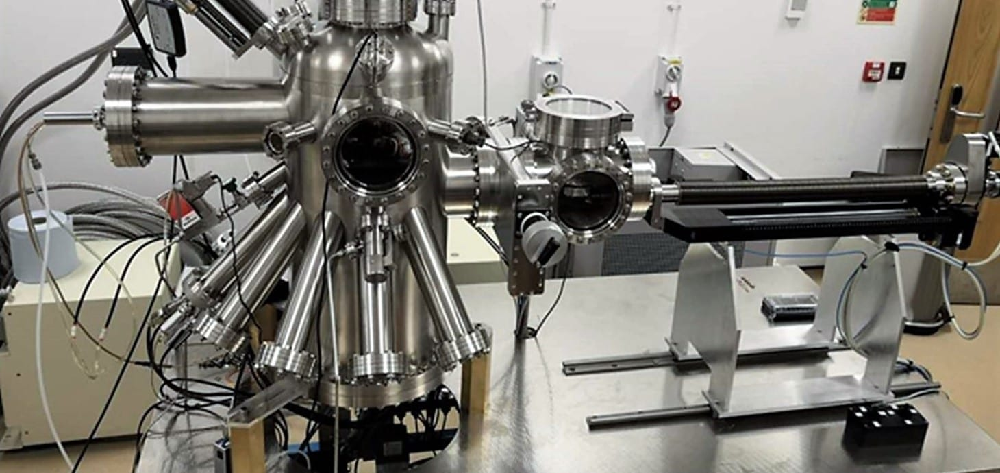The Matrix Assembly Cluster Source, a newly invented machine used to design a breakthrough water treatment method using a solvent-free approach.