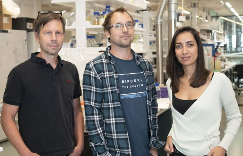Co-first authors Ioanna Smyrlaki (right) and Martin Ekman (left) and Björn Reinius, principal investigator of the study. Photo: Stefan Zimmerman