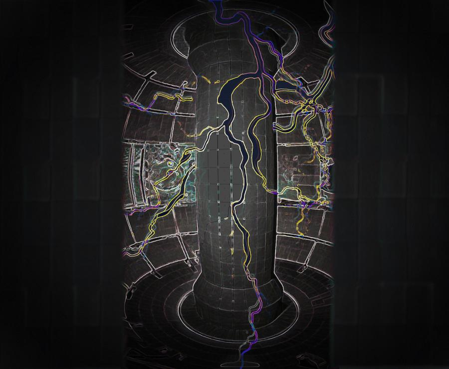 An artist's rendering of electrical current flowing through a tokamak fusion facility